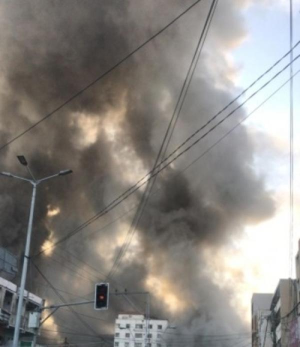 تدمير برج الشروق وسط غزة